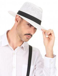 05c180078be Chapeau Panama blanc avec bande noire adulte. Deguisement Charleston ...
