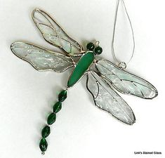 Stained Glass Green Dragonfly Sun Catcher