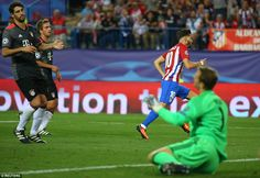 The attacker wheels away in delight as Neuer is left floundering on the ground having been beaten at his far post