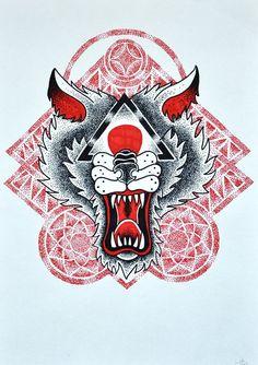 #dotwork #tattooflash #geometry #wolf