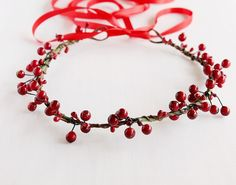 Red Holly Berries Christmas Crown Holiday Hair by HandyCraftTS