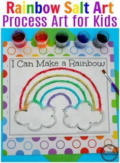 Preschool Rainbow Craft - Salt Painting Process Art. #rainbowcrafts #saltpainting #processart #preschool #springpreschool #rainbows