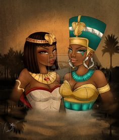 This is called Queens of the Nile by an artist named Kadejah.  If you'd like to see more, here's the link: www.BabyButta.deviantart.com.  This artwork is also featured at www.acumenartistgroup.blogspot.com.  (JL)