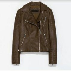 Zara brown leather jacket super gorgeous and fits great! flattering fit and keeps you warm through the winter. has quilted patches and zippers. I've only worn once for an hour so it's practically new. I love this jacket but just don't wear it enough, only considering selling to good offers! Zara Jackets & Coats