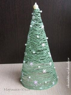 DIY Χριστουγεννιάτικο διακοσμητικό δέντρο από σπάγγο