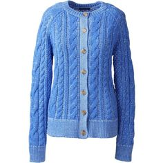 Lands' End Women's Petite Cotton Cable Trim Cardigan Sweater ($79) ❤ liked on Polyvore featuring tops, cardigans, blue, petite cotton tops, cardigan top, petite cardigan, lands end tops and lands' end