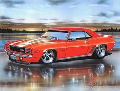 1969 Camaro RS Z28 Coupe Muscle Car Art Print 11x14 – Parry Johnson Hot Rod Art Prints