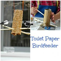 Check out our new Toilet Paper Birdfeeder my 3 year old made from ItsySparks!   This Mama Loves