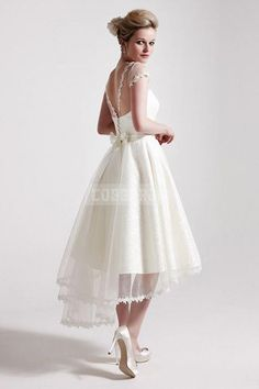 Capped Sleeves High Low Lace Hem Sash Bow Reception Dress