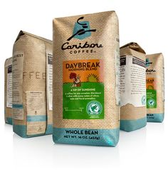"""The redesign of the Caribou Coffee brand and logo can now be found on its coffee bags nationwide. Caribou Coffee launched an extensive brand redesign last year that continues to roll out this year. The new coffee bag design now wraps the entire bag with burlap and labels that give the packaging more of a handcrafted and artisan feel."