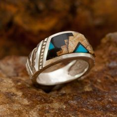 David Rosales Turquoise Creek Escher Inlaid Sterling Silver Ring