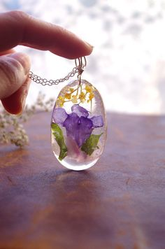 Flower Pendant  Real Flower Jewelry  Botanical di PassionOfLight