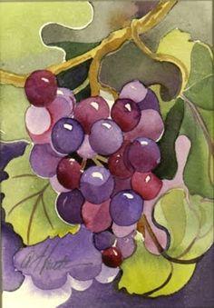 Znalezione obrazy dla zapytania dark grapes watercolor