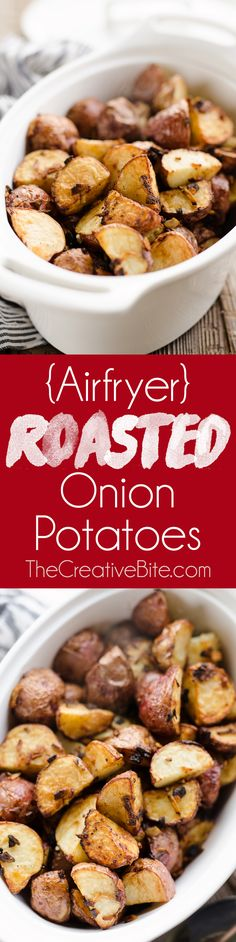 Airfryer Crispy Roasted Onion Potatoes are a quick and simple 3 ingredient side dish recipe ready in just 20 minutes!