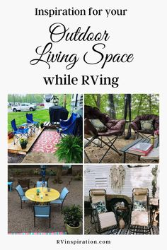 Decorating ideas for your RV patio or campsite that will inspire you to create a relaxing outdoor living space at your RV park, campground, or boondocking spot.   RVinspiration.com   #RVpatioideas #RVpatiodecoratingideas #campsitedecoratingideas #RVcampsitedecoratingideas Camping Set Up, Rv Camping, Camping Hacks, Outdoor Camping, Camping Ideas, Glamping, Backpacking, Campsite Decorating, Decorating Your Rv
