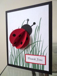 pinterest cards | Ladybug card. Found this idea on Pinterest and tried making it--didn't ...