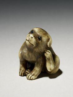 Netsuke puppy by Tomotada. Made of ivory.