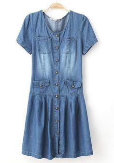 f737f3db93 Blue Buttons Pockets Short Sleeve Denim Dress