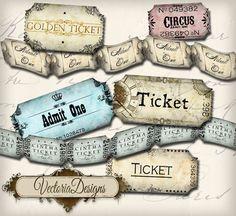 INSTANT DOWNLOAD Vintage Ticket Strip instant by VectoriaDesigns