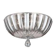 Worldwide Lighting Mansfield Collection 4-Light Clear Crystal Flushmount