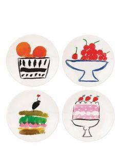 pretty pantry set of 4 appetizer plates - kate spade new york