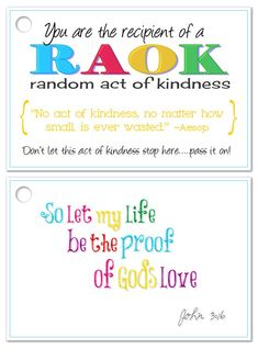 Random Acts of Kindness card