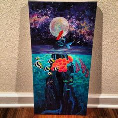 Mermaid painting and underwater scene. Acrylic on canvas. For sale! Facebook.com/kaleighsglover