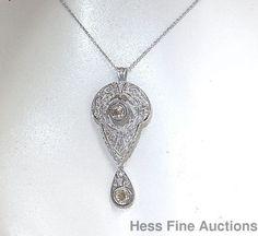 Antique Champagne Diamond Platinum Art Deco 14K Gold Filigree Pendant Necklace…