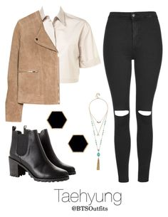 """""""Fire MV: Taehyung"""" by btsoutfits ❤ liked on Polyvore featuring MANGO, GUESS, Topshop, Monki and Janna Conner Designs"""