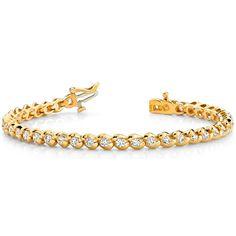 Bracelet Rivière Diamants 4.00 Carat - Or Jaune 14 Carats          #bracelet #diamants #or #blanc #jaune #brillant #rose #if #vvs #vs #si #orblanc