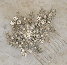 Bridal comb ,wedding comb ,bridal Hair comb, Florin - Rhinestone  Haircomb--can do it in gold