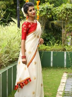 Gota patti saree from Laksyah www. Kerala Saree Blouse Designs, Saree Blouse Patterns, Trendy Sarees, Stylish Sarees, Fancy Sarees, Indian Dresses, Indian Outfits, Saree Shopping, Saree Look