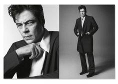 We like Benicio Del Toro's style for Prada #sober #elegant #whiteshirt