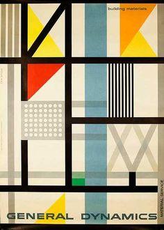 Erik Nitsche | General Dynamics Original Corporate Relations Poster Building Materials Material Services, 1954 ✭ vintage graphic design