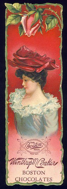 victorian advertisements | Victorian Advertising Bookmark - BOSTON CHOCOLATES