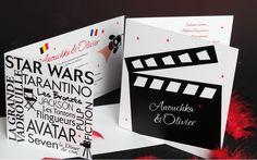 Faire part Cinéma thème Film Ticket Mariage Creation sur mesure www.latelierdelsa.com