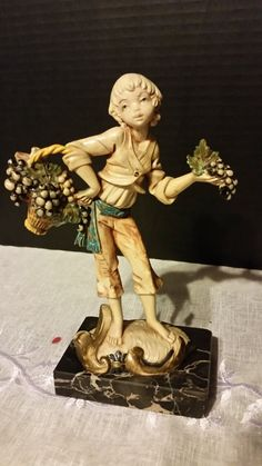 Vineyard Boy Figurine on Carrara Marble by ShellysSelectSalvage