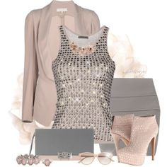 A fashion look from October 2013 featuring jersey tank top, fitted blazers and short mini skirts. Browse and shop related looks. Party Fashion, Fashion Outfits, Womens Fashion, Classy Outfits, Cute Outfits, Evening Outfits, Glamour, Denim Outfit, Boutique