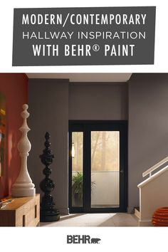 When it comes to modern and contemporary style, we're loving this sleek hallway inspiration from Behr Paint. And it all starts with a new coat of White, Colorful Leaves, and Anonymous. Neutral shades of gray and white come together with a bright pop of red to create this look. Click below to see more.