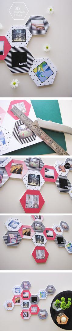 How to make hexagon frames for Instagram pics - TOMFO, So gorgeous plus a free printable! Love this idea!