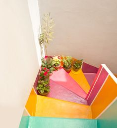 brightly painted stairs via Casa Chaucha