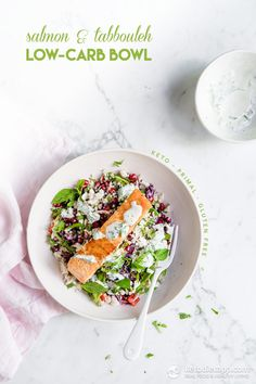 Healthy Salmon & Tabbouleh Low-Carb Bowl