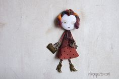 Brooch Art Doll mixed media collage gift for her by miopupazzo