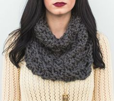 Wool Blend Chunky Style Knit Cowl by DarlingGoodsCo on Etsy, $35.00