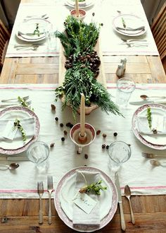 Keeping It Cozy: Seasons of Home: A Holiday Tablescape Cozy Christmas, Beautiful Christmas, Vintage Christmas, Christmas Tablescapes, Christmas Decorations, Holiday Tablescape, Greenery Centerpiece, Happy November, Striped Table Runner