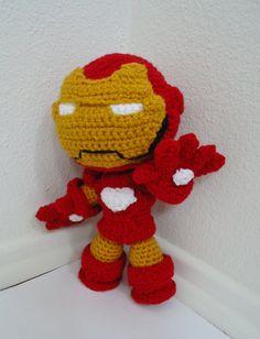 Ironman Sackboy Amigurumi crocheted stuffed doll Free by YarrrnIt, $75.00