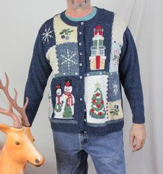 Ugly Christmas Sweater 1x size One eyed Snow Woman Candy Cane Presents Men Tacky #TiaraInternational #Cardigan