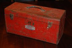 Red Vintage Mechanic Rustic Tool Box Metal Chest Tool Box Antique Rusty Toolbox Industrial Shop Home Man Cave Retro Mechanic Old Weathered