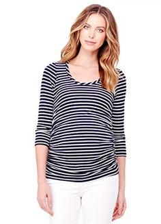 9c84c724 Ingrid & Isabel Women's Maternity Stripe 3/4 Sleeve Shirred Top, True  Navy/White Stripe, Small