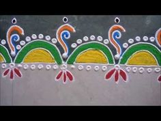 Colourful Border Rangoli Design - YouTube